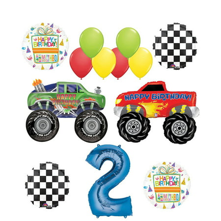 Monster Truck Party Supplies 2nd Birthday Balloon Bouquet Decorations - Monster Truck Rental For Birthday Party