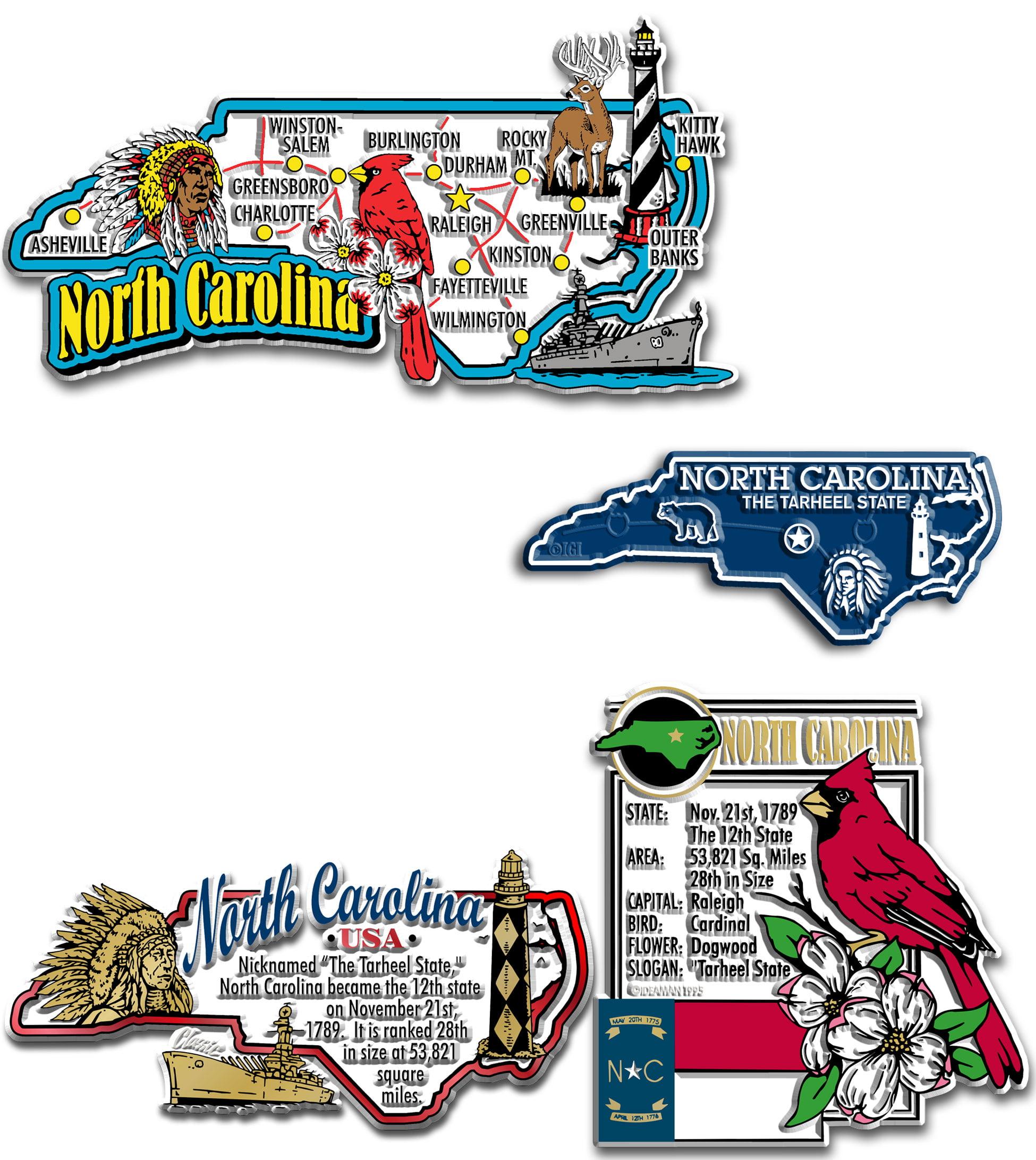 Four-Piece State Magnet Set - North Carolina