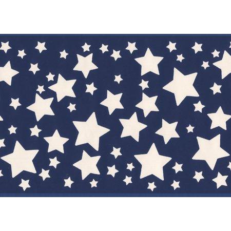 White Stars Blue Bedroom Wallpaper Border for Kids, Roll 15' x 5.87'' - image 3 de 3