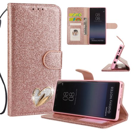 Galaxy Note 8 Case Wallet, Samsung Galaxy Note 8 Case, Allytech Glitter Folio Kickstand with Wristlet Lanyard Shiny Sparkle Luxury Bling Card Slots Slim Cover for Samsung Galaxy Note 8