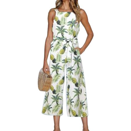 e56a28fd83dc Sexydance - Women s Floral Print Playsuit Sleeveless Wide Leg Jumpsuit  Summer Romper Pants Outfits - Walmart.com