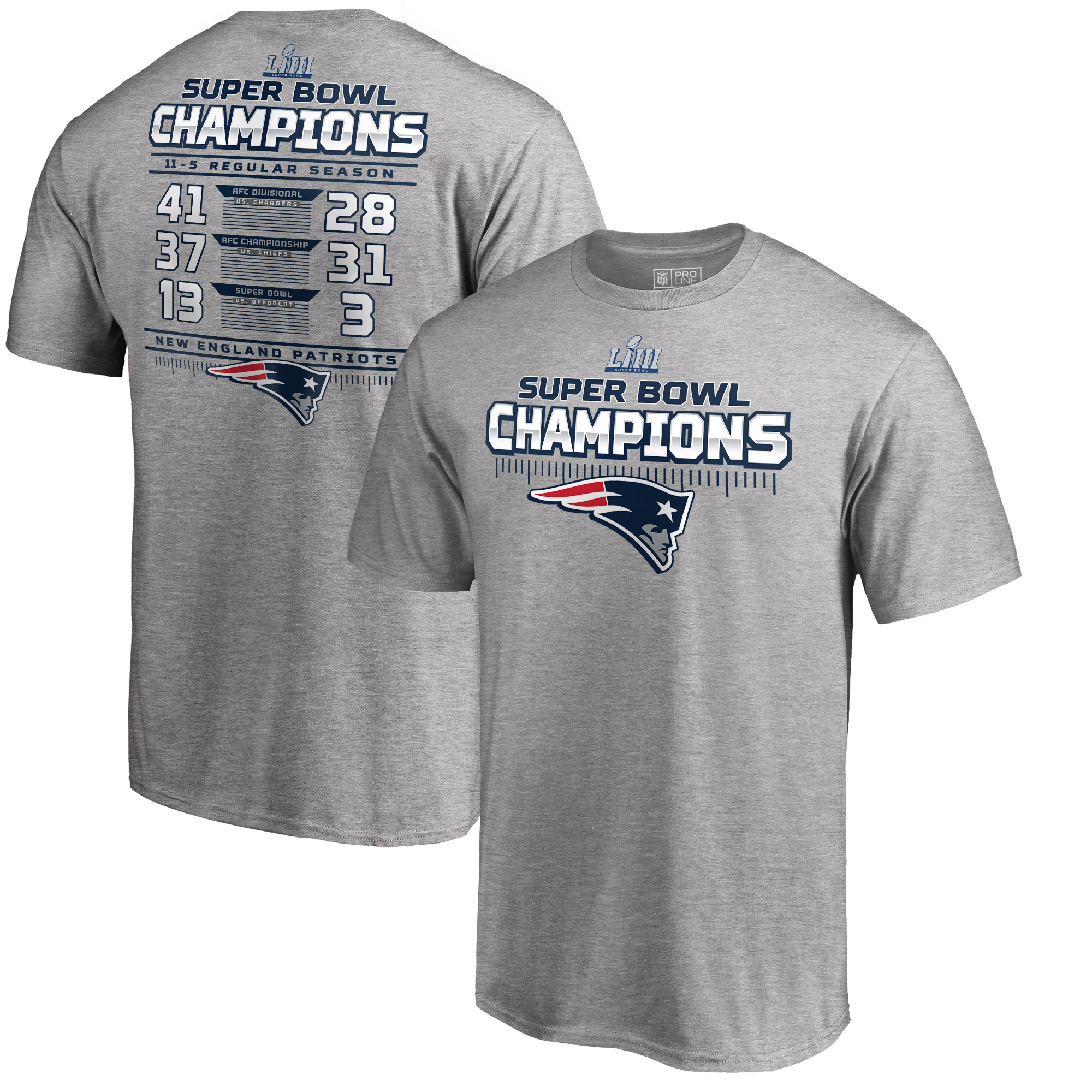 New England Patriots NFL Pro Line by Fanatics Branded Super Bowl LIII Champions Interception Schedule T-Shirt - Heather Gray