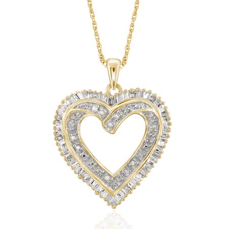 1/10 Carat T.W. White Diamond Gold over Silver Heart Pendant Cosmopolitan Diamond Pendants