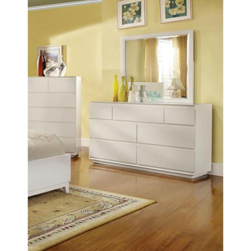 Furniture of America Cheshire Modern White 2-Piece Dresser and Mirror Set