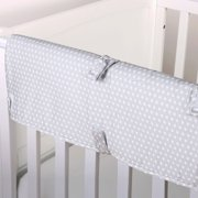 The Peanut Shell Baby Crib Rail Guard - Grey Confetti Dot Print - 100% Cotton Sateen Cover, Polyester Fill