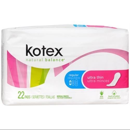 Kotex Ultra Thin Pads Regular Unscented 22 Each (Pack of 2)