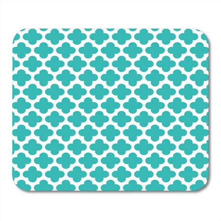 KDAGR Teal Modern Turquoise Quatrefoil Pattern Blue Diamond Morrocan Contemporary Mousepad Mouse Pad Mouse Mat 9x10 inch