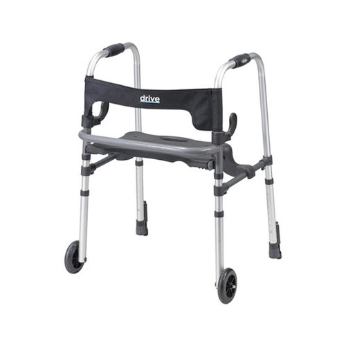 Bundle-16 Drive Medical Clever-Lite LS  Walker with Seat and Push Down Brakes (2 Pieces)