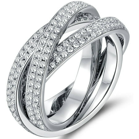 CZ 18kt White Gold-Tone 3-Row Rolling Ring