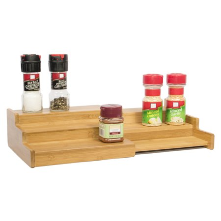 Bamboo Expandable 3-Tier Spice Rack and Cabinet Organizer by Trademark Innovations ()