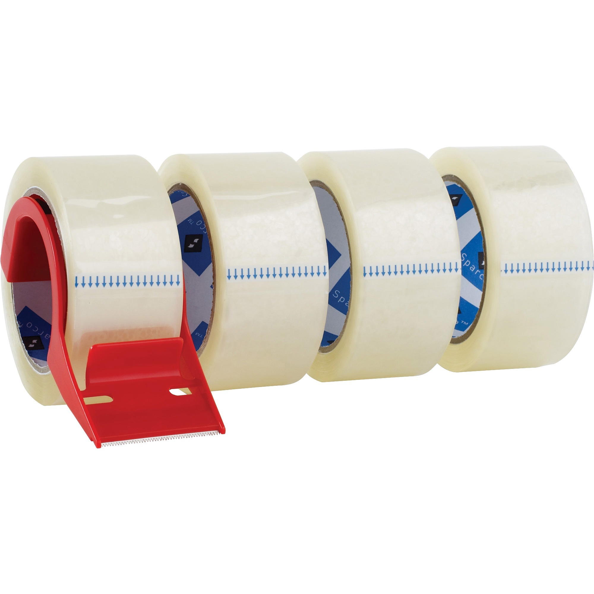 Sparco, SPR64011, Heavy-duty Packaging Tape with Dispenser, 4 / Pack, Clear