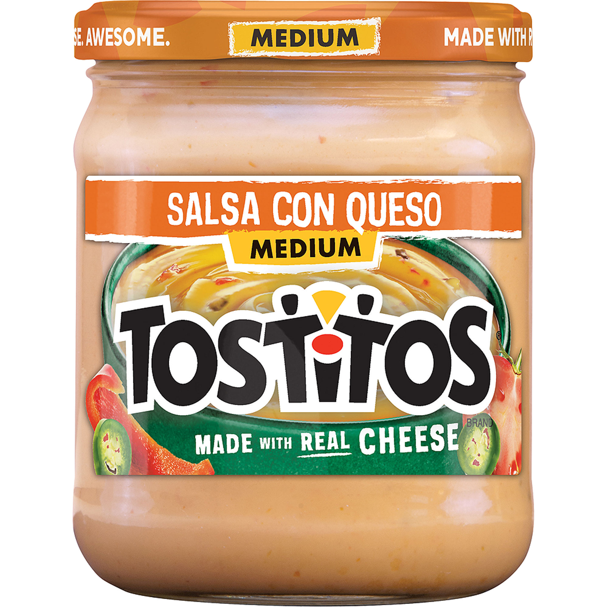 Tostitos Medium Salsa Con Queso, 15 oz.