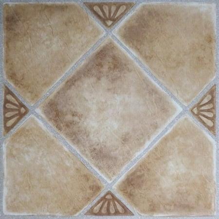 8 Inch Floor Tile - Achim Nexus Beige Clay Diamond with Accents 12x12 Self Adhesive Vinyl Floor Tile - 20 Tiles/20 sq. ft.