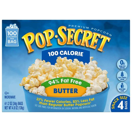 Pop Secret Microwave Popcorn 94 Fat Free Er 100 Calorie 4 8 Oz