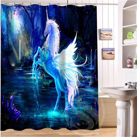 Unicor n Fly Horse Waterproof Bathroom Shower Curtain Polyester Fiber with 12 C-shaped Hooks Dark Blue 71''x71'' (C Shaped Shower)