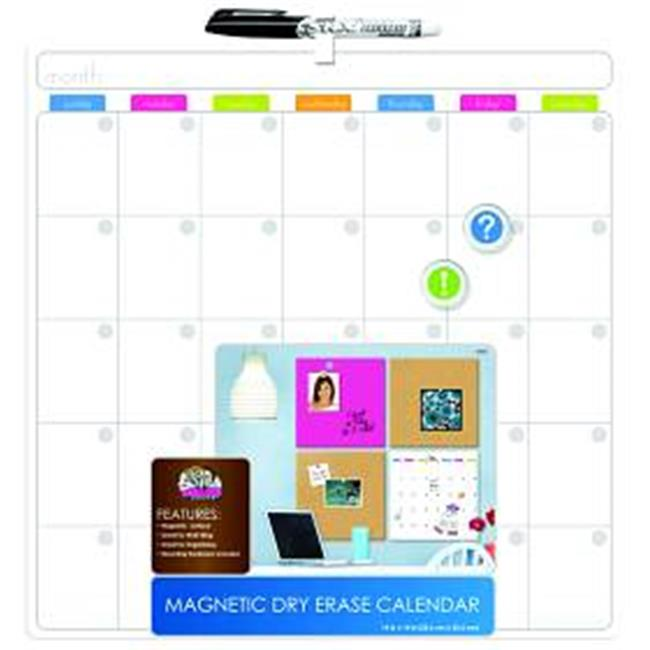 Board Dudes Unframed Magnetic Calendar, Magnetic Dry Erase Board, 14 x 14 Inches (13850UA-4) Multi-Colored