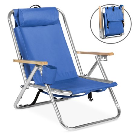 Best Choice Products Portable Folding Seat Backpack Chair for Beach, Camping, Tailgate w/ Removable Padded Headrest, Cup Holder -