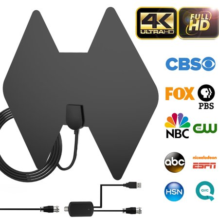 - 2019 Newest HDTV Antenna, Indoor HD Digital TV Amplified Antenna 80-100 Miles Range Compatible 4K VHF UHF1080P Free local TV Channels with Detachable Amplifier Signal Booster & 18ft Coaxial Cable