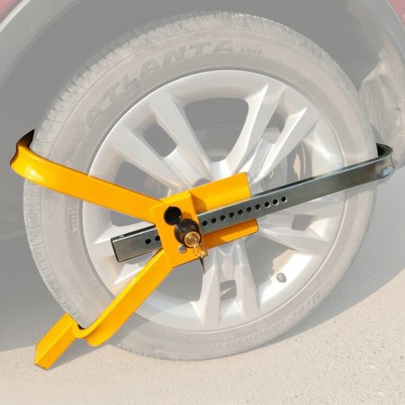 Wheel Lock Tire Trailer Auto Car Truck Anti-Theft Security Towing Tire Clamp【Wide Application】The locking lever has 16 holes that can be adjusted, which is.., By Goplus