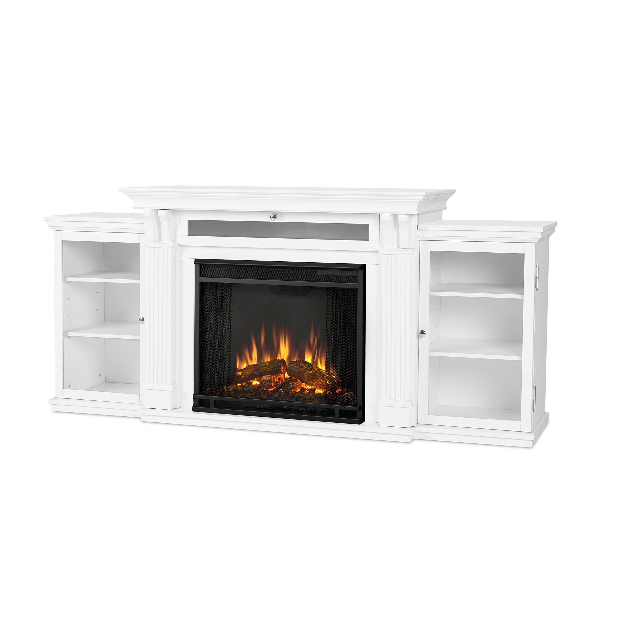 Calie Entertainment Center Electric Fireplace in White by Real Flame