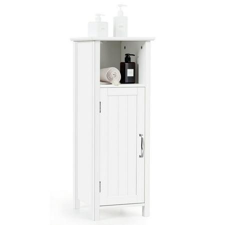 Gymax Bathroom Floor Storage Cabinet Free Standing w/ Single Door Adjustable Shelf