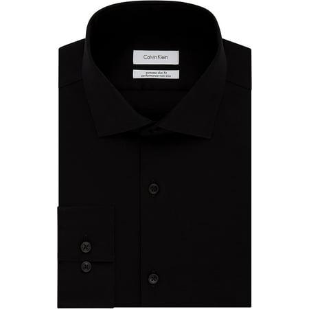 "Calvin Klein Men's Dress Shirts Xtreme Slim Fit Non Iron Herringbone, Black, 16.5"" Neck 34""-35"" Sleeve - image 1 de 1"