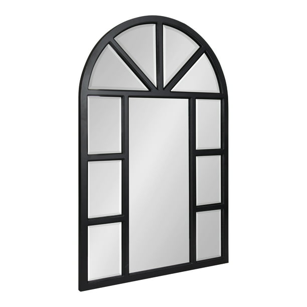 Kate And Laurel Hogan Rustic Wood Framed Arch Windowpane Wall Mirror 24 X 36 Distressed Black Chic Farmhouse Wall Decor Walmart Com Walmart Com
