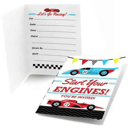 Cars Birthday Invitations (Let's Go Racing - Racecar - Fill In Race Car Birthday Party or Baby Shower Invitations (8)