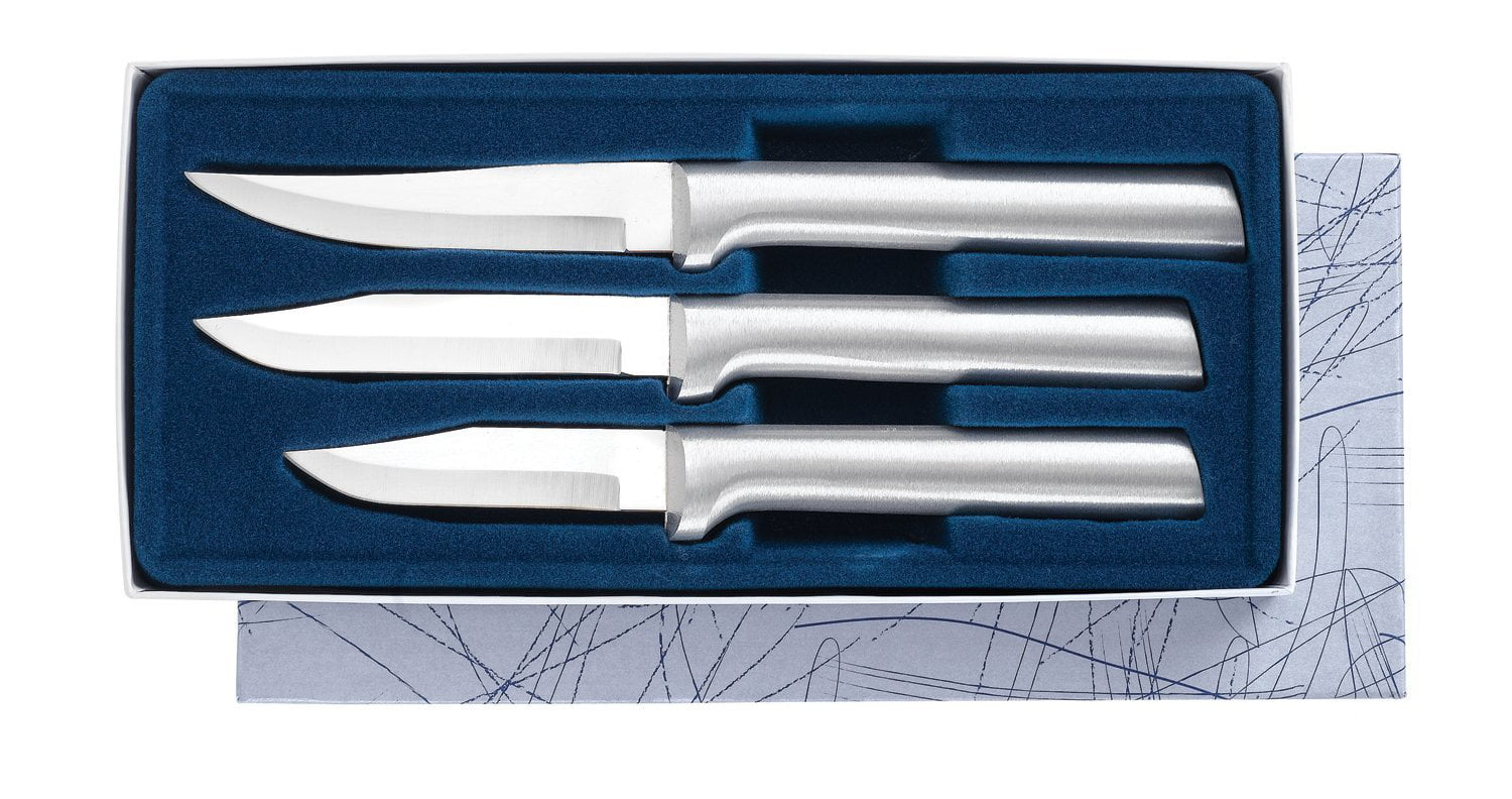 Rada Cutlery Paring Knife Set � 3 Knives with Stainless Steel Blades And Brushed Aluminum Handles by Rada Mfg