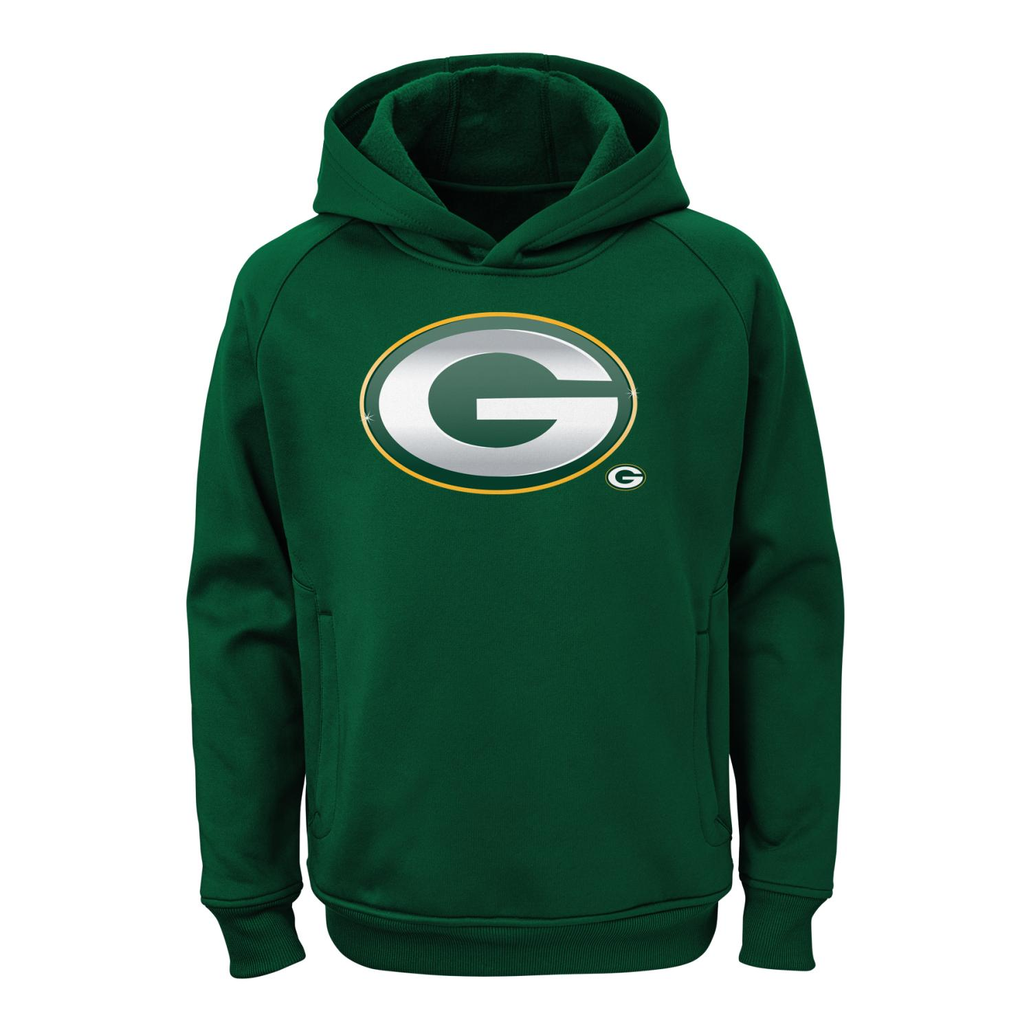 "Green Bay Packers Youth NFL ""Chrome"" Performance Pullover Hooded Sweatshirt"