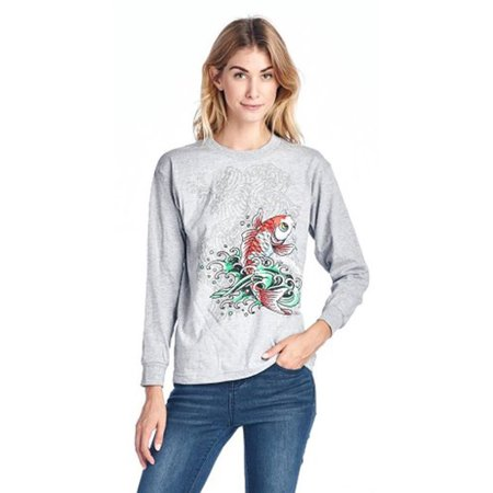 Ed Hardy Juniors Koi Fish Graphic T-Shirt Long Sleeves Grey - Happy Koi