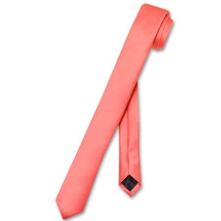 Coral Tile - Vesuvio Napoli Narrow NeckTie Extra Skinny CORAL PINK Men's Thin 1.5