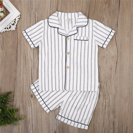 Kids Boys Pajamas Set Stripe Sleepwear Cotton Shirt + Shorts Summer Pjs Outfits Button Down Nightclothes for $<!---->