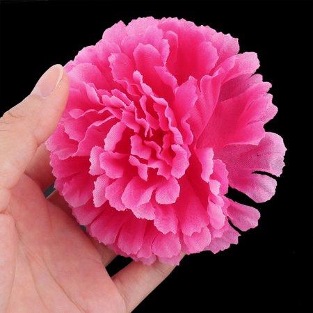 Wedding Fabric Artificial Carnation Flower Heads DIY Craft Decor Fuchsia 20pcs - image 1 de 3