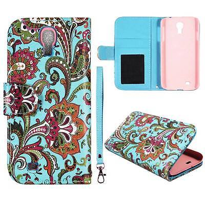 For Samsung Galaxy S4 S IV 4 i9500 Aqua Paisley Syn Leather Folio Dual Layer Interior Design Flip PU Leather case Cover Card Cash Slots & Stand  (Iv Leather)
