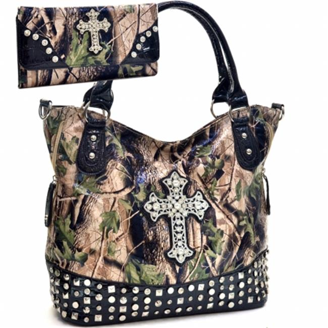 Ritz Enterprises CRL662WC105SET-BK Western Camouflage Cross Accent Rhinestone Bling Purse With Matching Wallet- Black