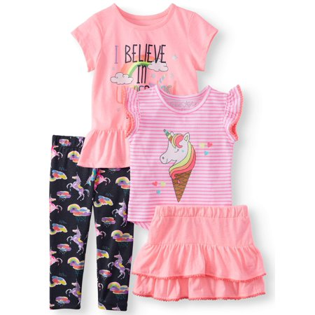 Believe in Unicorns Mix and Match, 4-Piece Outfit Set (Little Girls & Big Girls) (Cowgirl Outfits For Little Girl)