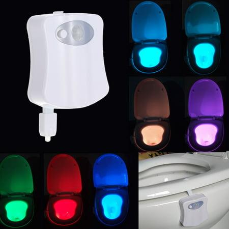 Lixada 8 Colors Chaning Led Toilet Night Light Sensor Motion Activated Light