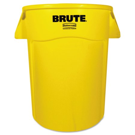 Outdoor Trash Receptacle - Rubbermaid Commercial Brute Vented Trash Receptacle, Round, 44 gal, Yellow