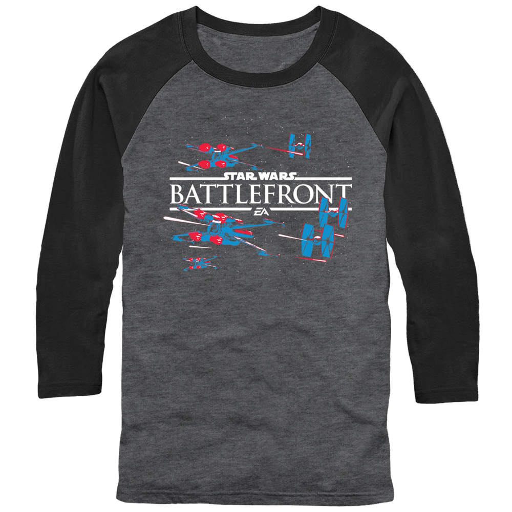 Star Wars Battlefront X-Wing and TIE Fighter Mens Graphic Baseball Tee