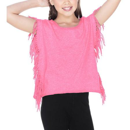 Kavio! Girls 7-16 Sheer Jersey Raw Edge Side Fringe Asymmetrical Cap Sleeve CropTop Pink Flash L