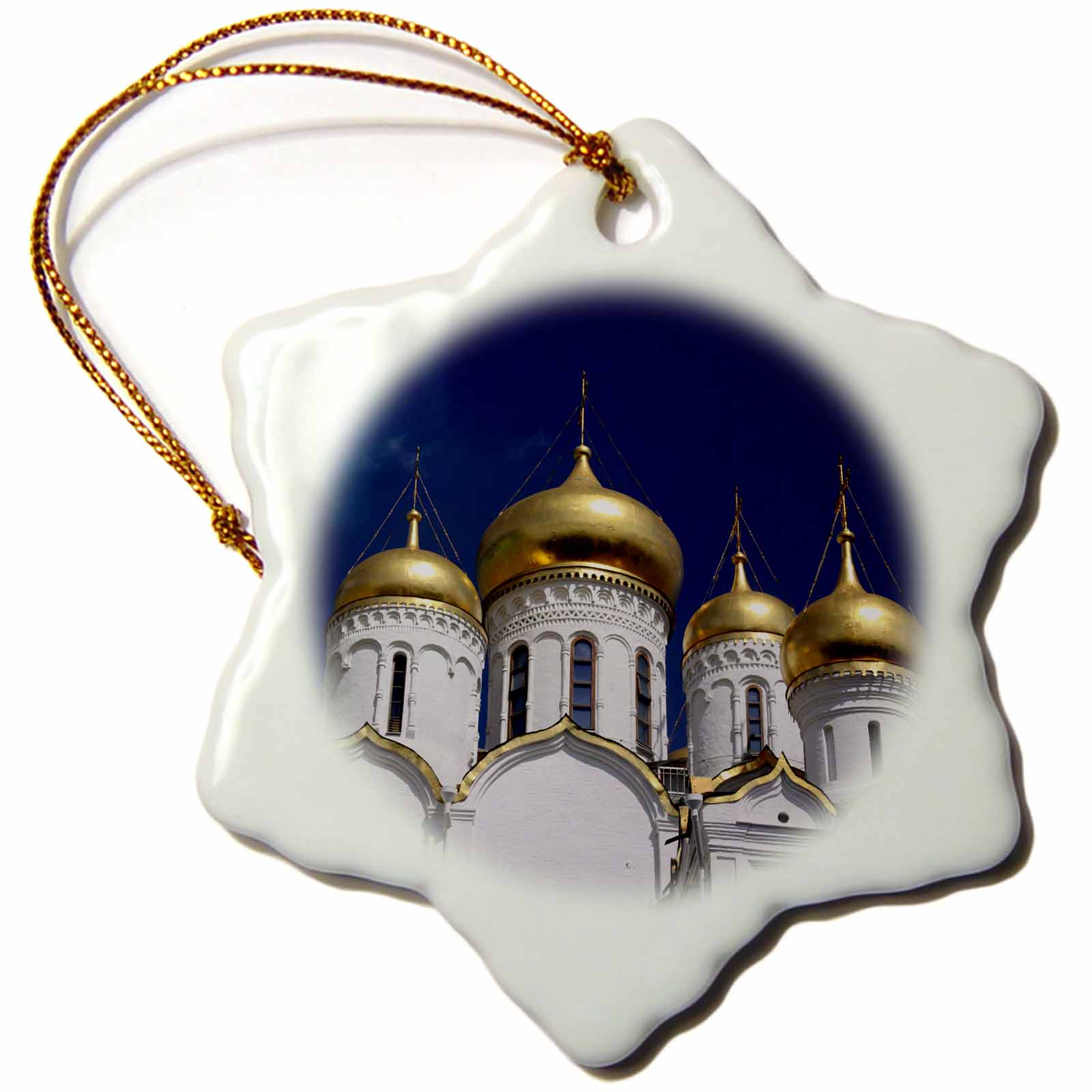 3dRose Annunciation Cathedral of the Kremlin, Moscow, Russia - EU26 KWI0033 - Kymri Wilt, Snowflake Ornament, Porcelain, 3-inch