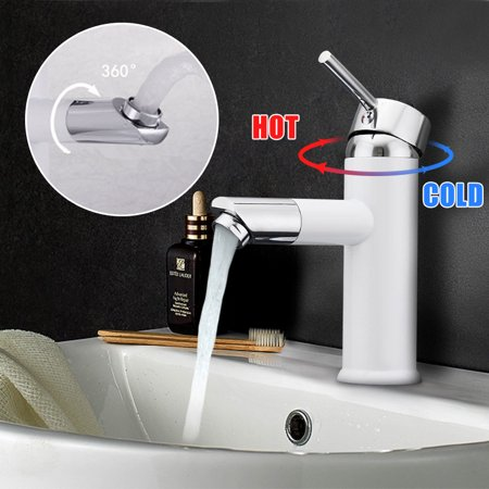 Single Handle Single Hole Waterfall Bathroom Sink Faucet 360° Rotating Chrome Plated  Basin Kitchen Water Tap