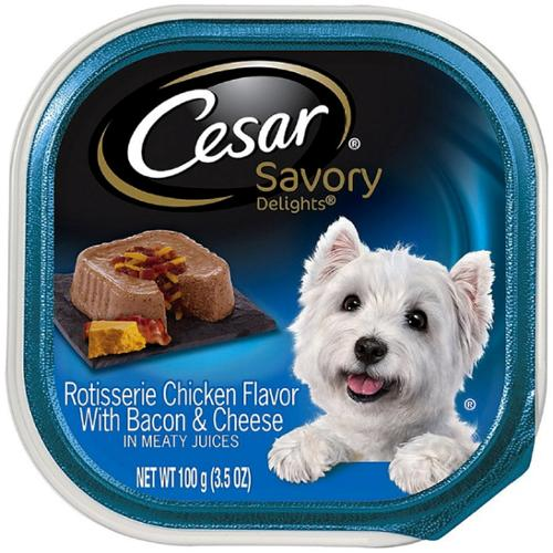 Cesar Savory Delights Rotisserie Chicken Flavor With Bacon and Cheese in Meaty Juices 3.50 oz (Pack of 6)