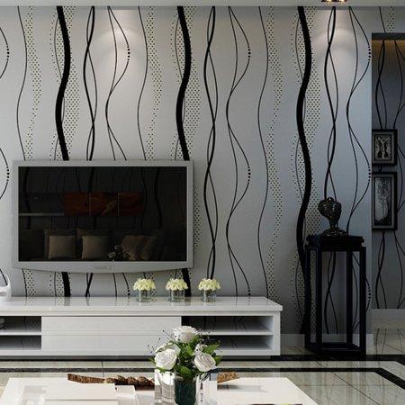 Stripe Wallpaper Double Roll - Mrosaa 3D Crescent Wave Stripes Non-woven Flocking Embossed Wallpaper Rolls, 394