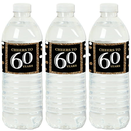 Adult 60th Birthday - Gold - Birthday Party Water Bottle Sticker Labels - Set of 20 - Black And Gold 60th Birthday Decorations