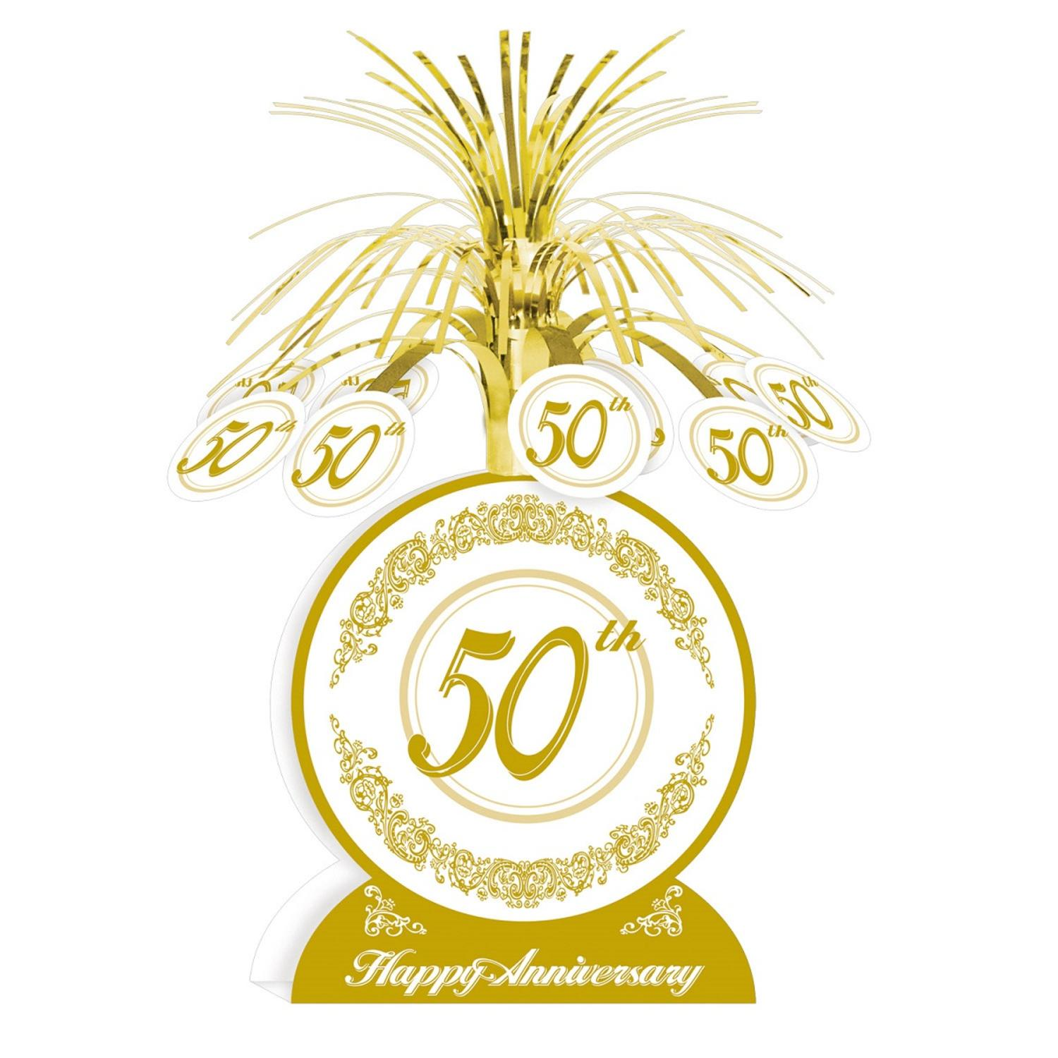 """Club Pack of 12 Gold and White """"50th Happy Anniversary"""" Table Centerpiece Decorations 13"""""""