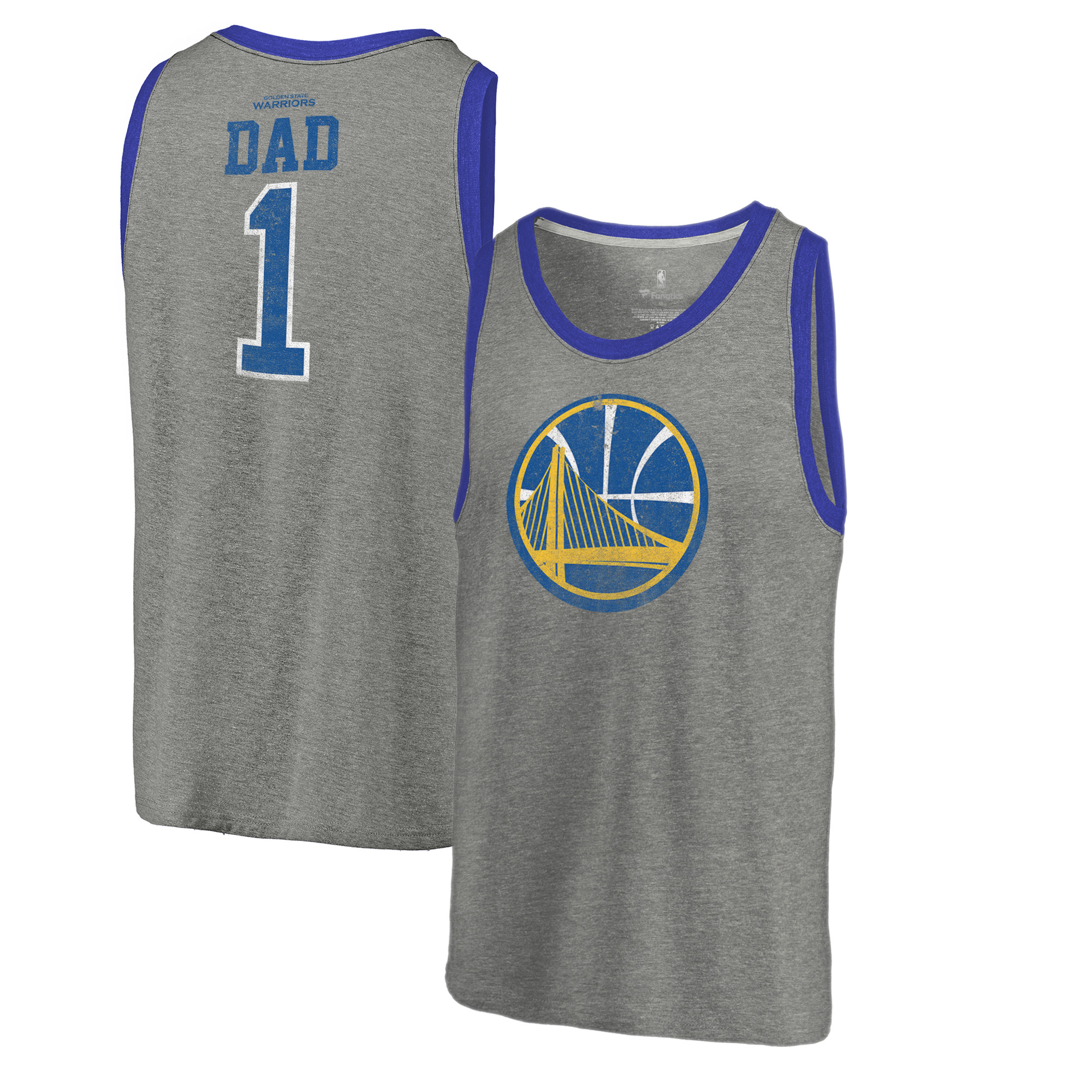 Golden State Warriors Fanatics Branded Greatest Dad Tri-Blend Tank Top - Heathered Gray