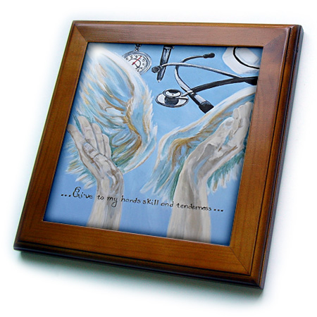 3dRose Angel Hands and wings with nurses prayer - Framed Tile, 6 by 6-inch