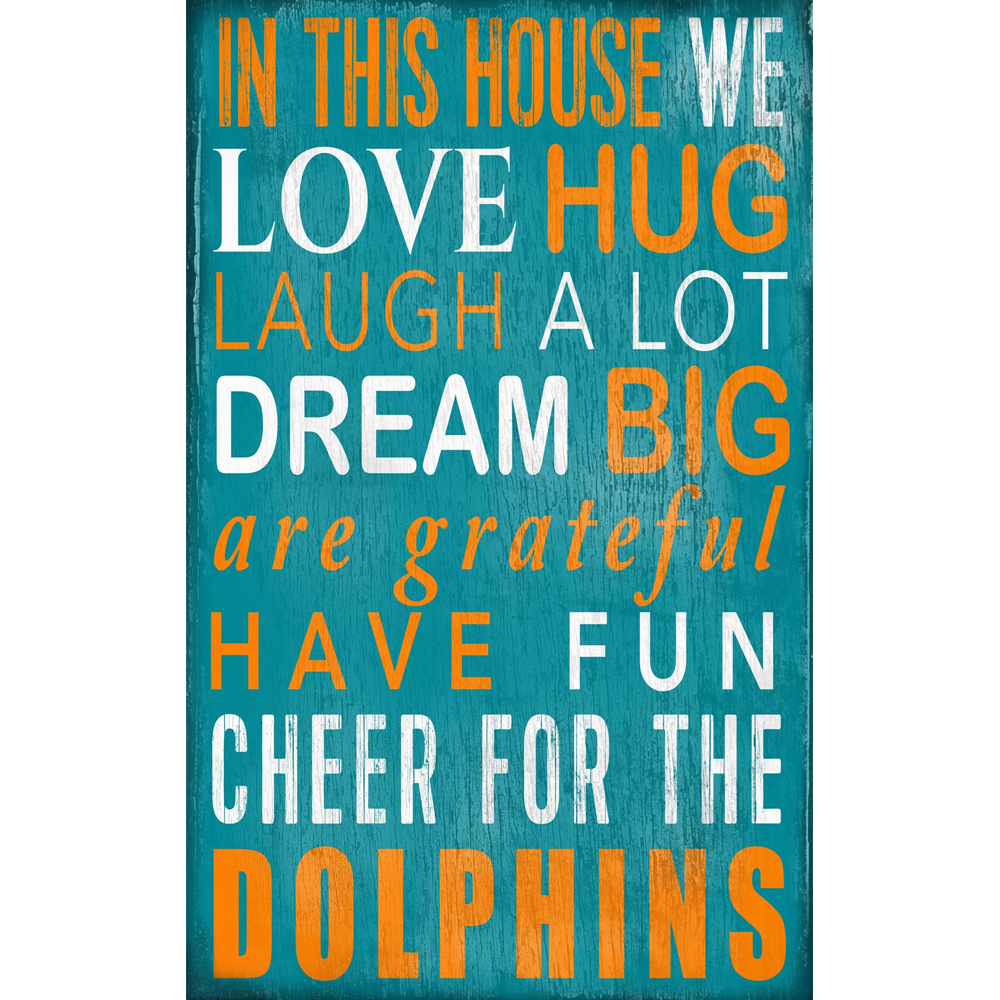 "Miami Dolphins 11"" x 19"" In This House Sign - No Size"